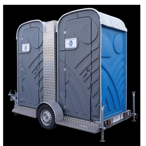Twee mobiele toiletten op aanhanger huren