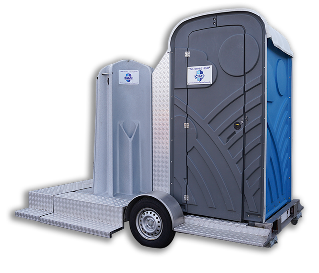 Maas Mobiel toilet en plaskruis op aanhanger huren